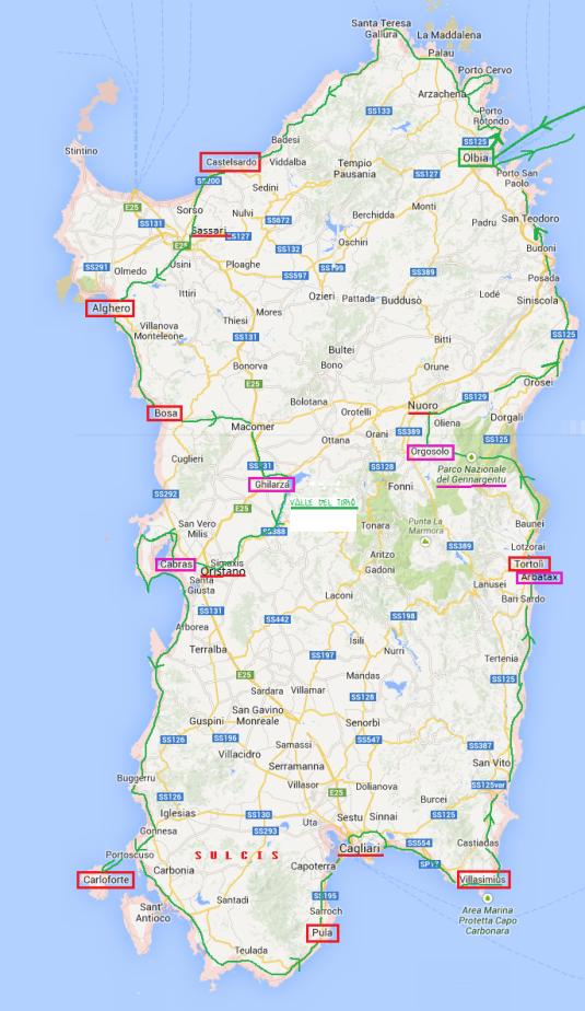 PERCORSO SU Mappa Sardegna