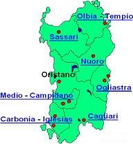 cartina province Sardegna