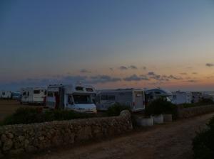 tramonto sui camper